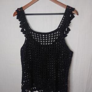 Metro7 Black Sexy Sparkle Crochet Crop Top XL Plus